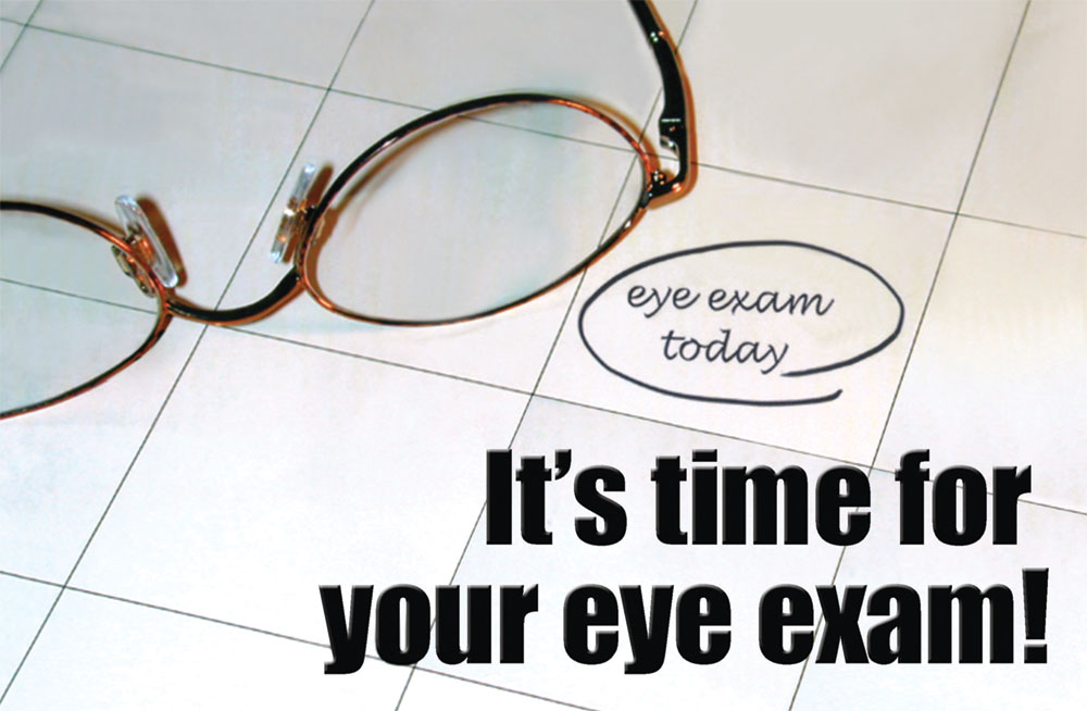 It's time for your eye exam card, direct mail marketing, Raphel Marketing